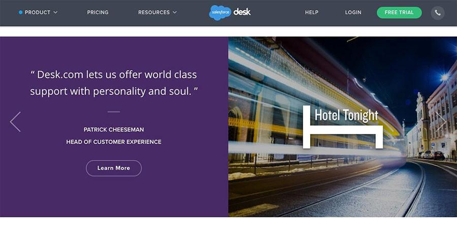 Salesforce Desk website testimonial example