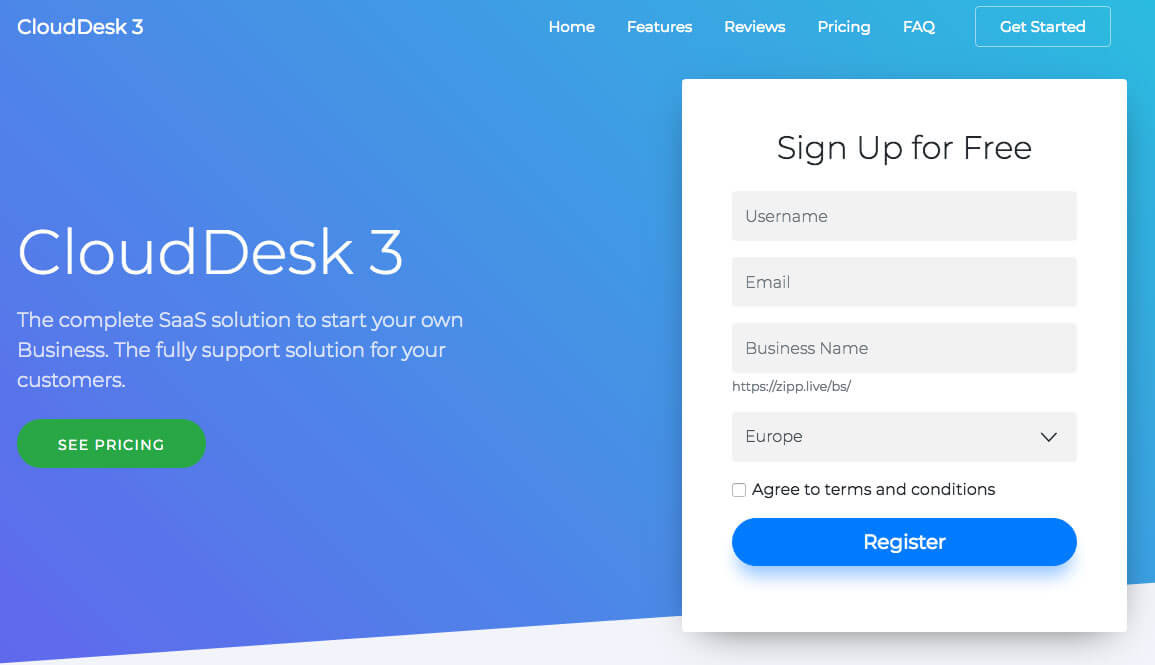 clouddesk signup