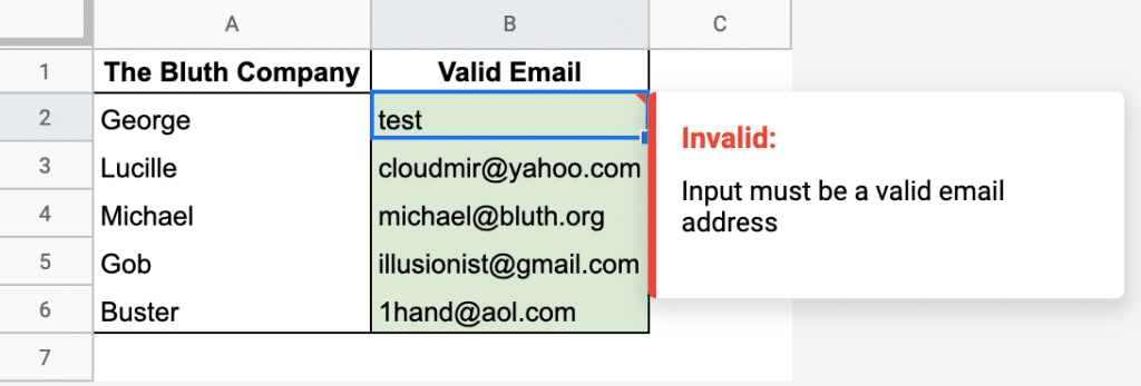 Valid Email Data Needed Google Sheets