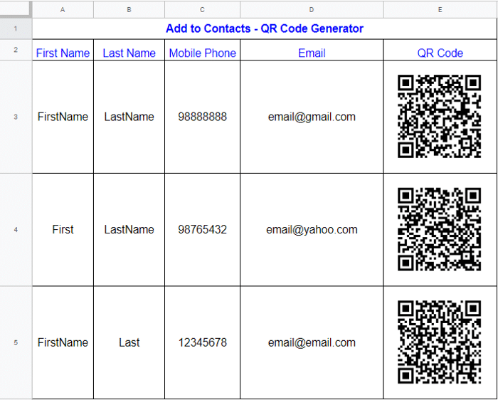 QR Codes in Google Sheets
