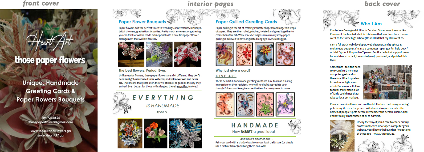 Mulitpage, two-fold flyer for Those Paper Flowers, who makes paper flower bouquets and handmade paper quilled greeting cards - <a href='http://thosepaperflowers.ga' target=_blank>www.ThosePaperFlowers.ga</a>