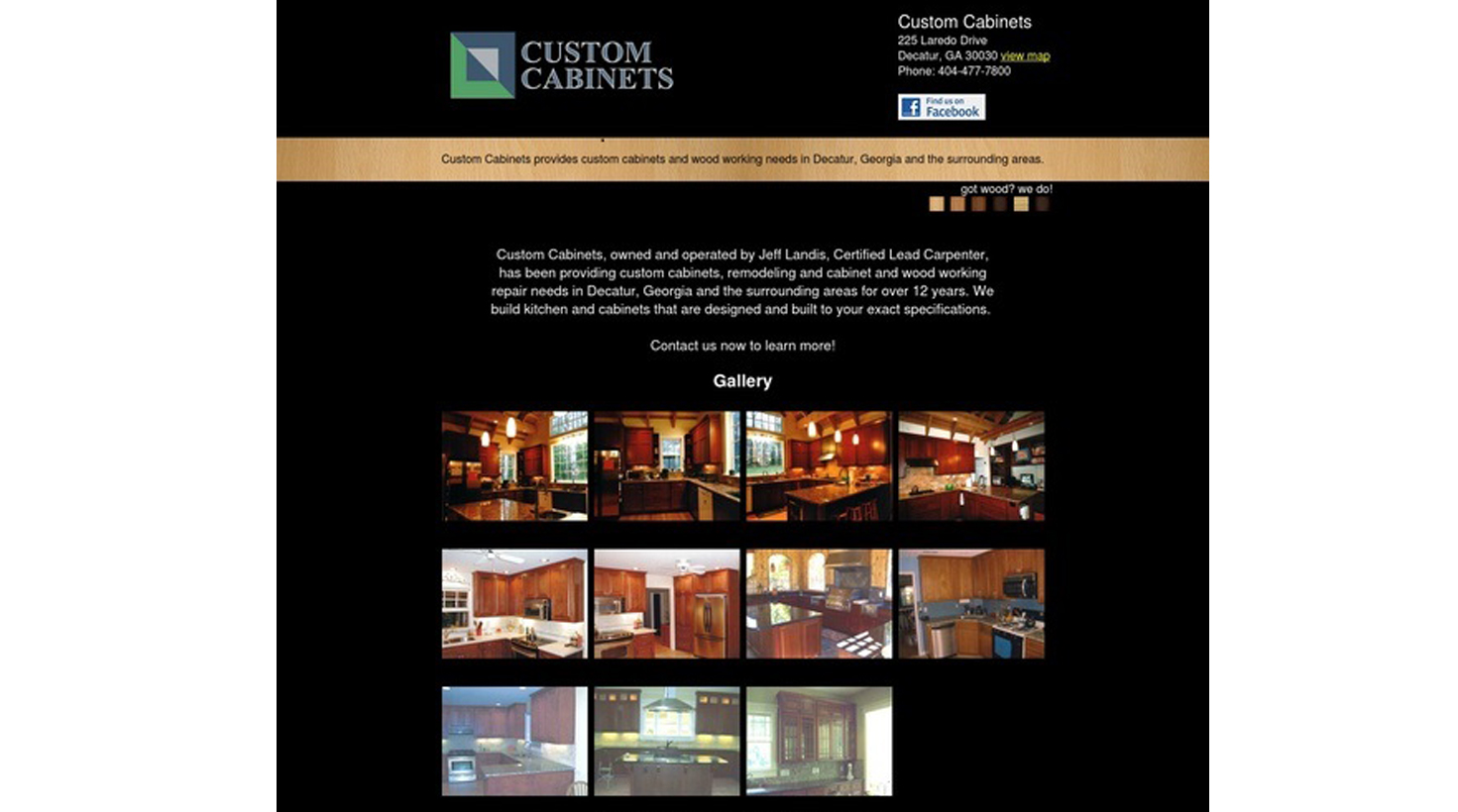 This is a promotional, informational website for a local Decatur small business, Custom Cabinets in Avondale Estates. The site features a project photo gallery that is easy to update and provides contact information.