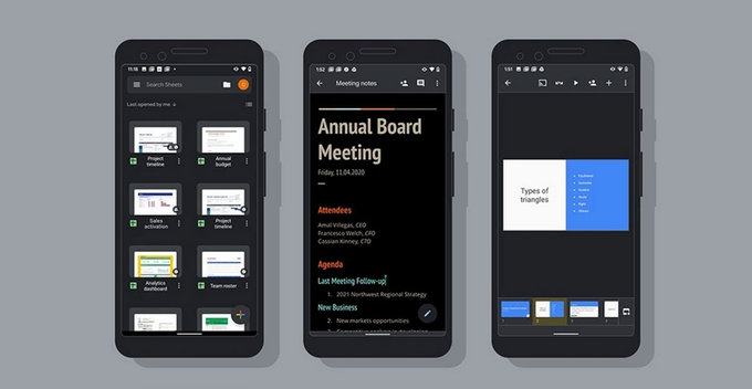 Google විසින් Docs, Sheets සහ Slides වල Android versions වලට dark mode features නිකුත් කරයි