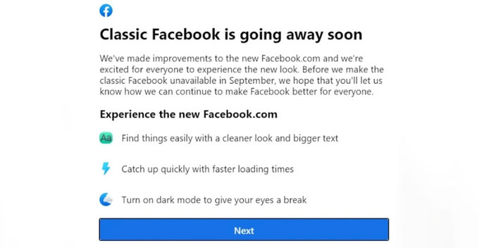 Classic interface එක සැප්තැම්බරයේ සිට අත්හිටුවන බව Facebook සමාගම දැනුම් දේ