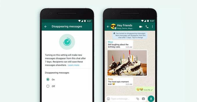 WhatsApp සඳහා disappearing messages නිල වශයෙන් හඳුන්වා දීමට Facebook ආයතයන කටයුතු කරයි