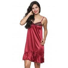 Secret Wish Women's Satin Red Babydoll Dress (Free Size, BI-22-Maroon-FS)