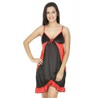Secret Wish Women's Satin Black Babydoll Dress (Black, Free Size)