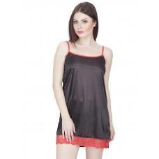 Secret Wish Women's Satin Babydoll Dress (Black, Free Size)