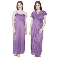 Secret Wish Women's Satin Nighty with Robe (Purple, Free Size)
