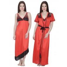 Secret Wish Women's Satin Nighty with Robe (Red, Free Size)