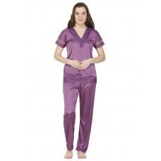Secret Wish Satin Purple Nightsuit