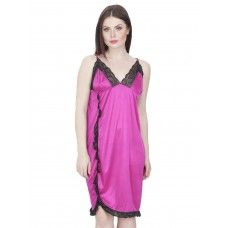 Secret Wish Women's Satin Babydoll Dress (Pink, Free Size)