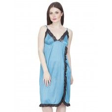 Secret Wish Women's Satin Babydoll Dress (Blue, Free Size)