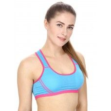 Blue Sports Bra With Racer Back