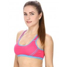 Hot Pink Sports Bra With Racer Back
