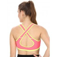 Neon Green Sports Bra With Racer Back