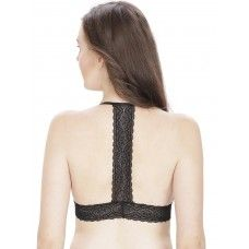 Secret Wish Black Padded Cross Back Bralette Lacy