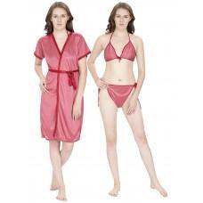 Secret Wish Women's Satin Peach Robe (Red, Free Size)