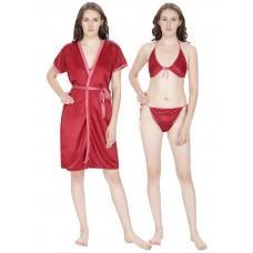 Secret Wish Women's Satin Maroon Robe (Red, Free Size)