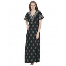 Secret Wish Women's Cotton Black,Green Nighty (Green, Free Size)
