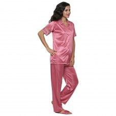 Secret Wish Women's Satin Beige Nightsuit Set Of 2 (Free Size, BI-25-Pink-FS)