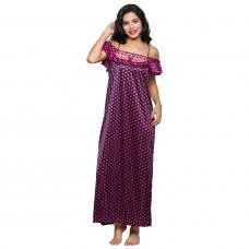 Secret Wish Women's Satin Purple Nighty, Nightdress Set Of 2 (Free Size)
