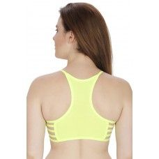 Secret Wish Padded Nylon,Spandex Fluorescent Green Sports Bra