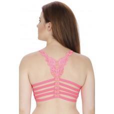 Secret Wish Padded Nylon,Spandex Pink Sports Bra