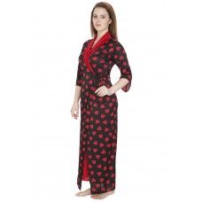 Secret Wish Women's Satin Print Maroon Robe (Maroon, Free Size)