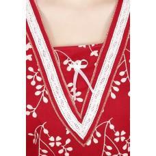 Secret Wish Women's Cotton Red Nighty (Red, Free Size)