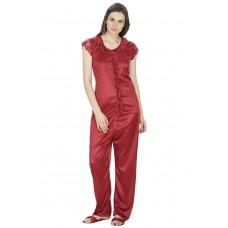 Secret Wish Women's Satin Maroon Nightsuit Set with Slippers (Maroon, Free Size)