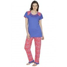 Secret Wish Women's Hosiery Blue, Pink Nightsuit Set (Blue, Pink, Free Size)