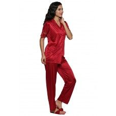 Secret Wish Women's Satin Red Nightsuit Set Of 2 (Free Size)