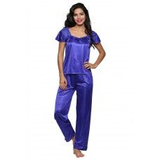 Secret Wish Women's Satin Blue Nighty, Nightdress Set Of 4 (Free Size, BI-19-Purple-FS)