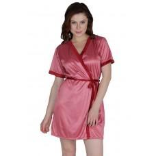 Secret Wish Women's Satin Beige, Purple Robe, Housecoat (Free Size, HC-59)