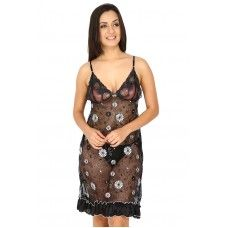 Secret Wish Women's Lace Black Babydoll Dress (Black, Free Size)