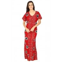 Secret Wish Women's Cotton Red Nighty, Nightdress (Red, Free Size)