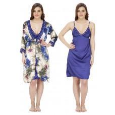 Secret Wish Women's Poly Satin Nighty With Robe (Blue, Free Size)
