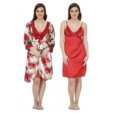 Secret Wish Women's Poly Satin Nighty With Robe (Red, Free Size)