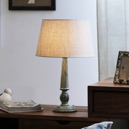 "The Décor Mart Off White Shade With Wooden Base Table Lamp (14"" x 14"" x 22"")"