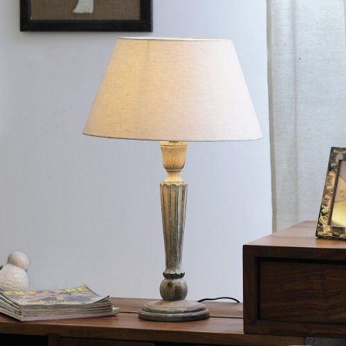 """The Décor Mart Ivori Shade With Wooden Base Table Lamp (13.5"""" x 13.5"""" x 22.5"""")"""