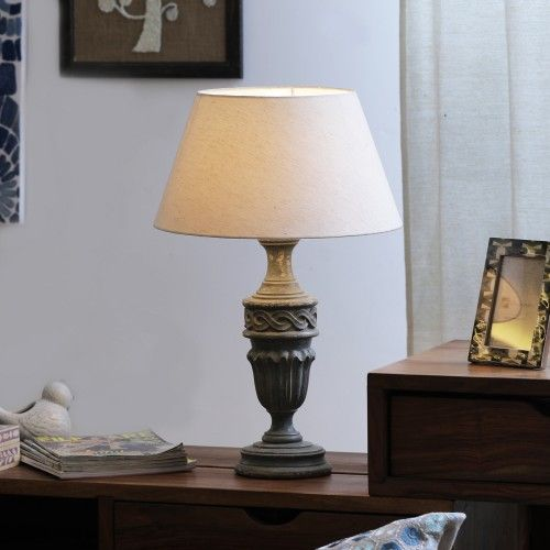 "The Décor Mart Off White Shade With Wooden Base Table Lamp (15"" x 15"" x 22.75"")"