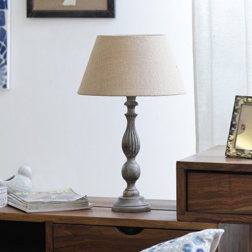 "The Décor Mart Beige Shade With Wooden Base Table Lamp (13.5"" x 13.5"" x 23.50"")"