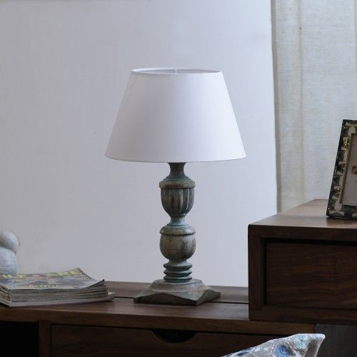"The Décor Mart White Shade With Wooden Base Table Lamp (11"" x 11"" x 18.5"")"