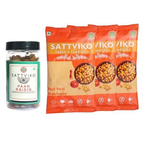 Sattviko Snacks Combo (Peri Peri Makhana & Paan Raisin), 185 grams