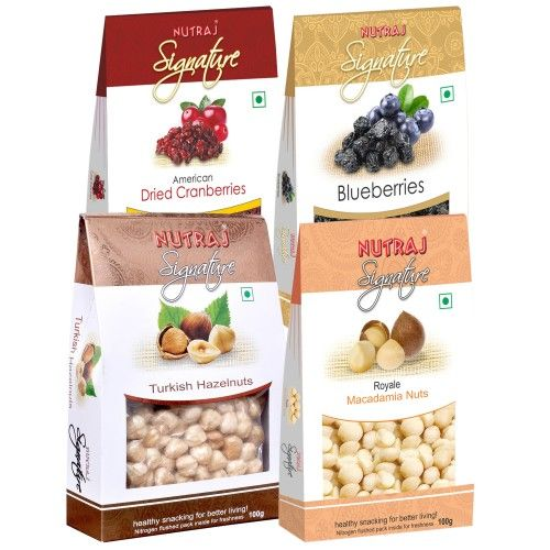 Nutraj Signature Pack of 4 - Cranberries, Blueberries, Macadamia, Hazelnut (Exotic Range)