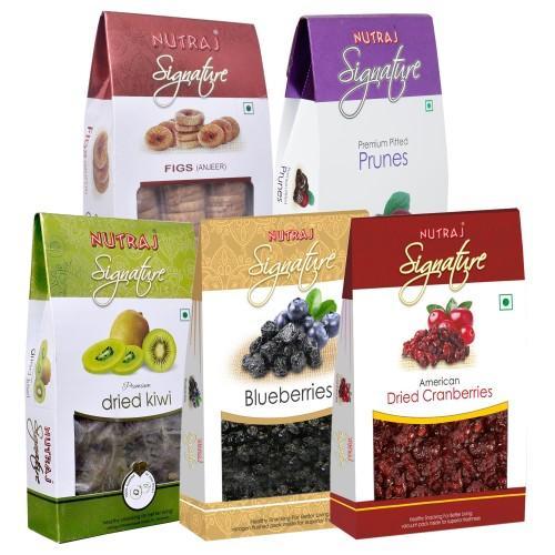 Nutraj Signature Fruits and Berries - Pack of 5 (Cranberries, Prunes, Blueberries, Kiwi, Figs)