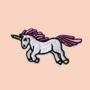 Unicorn embroidered patch iron-on in hand
