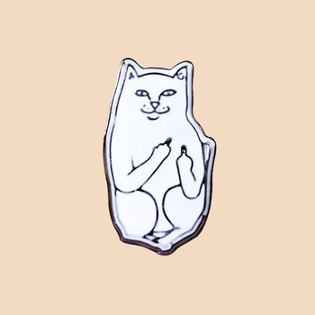 Middle finger cat metal pin