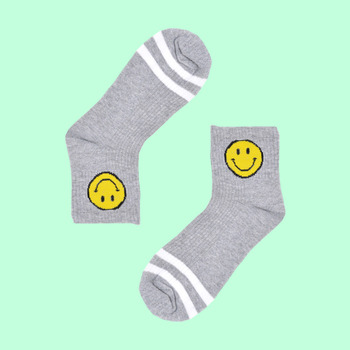 Smiley cotton socks grey